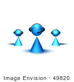 #49820 Royalty-Free (Rf) Illustration Of A Group Of Three 3d Blue Avatar Customer Service Characters - Version 1