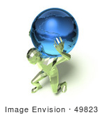 #49823 Royalty-Free (Rf) Illustration Of A 3d Green Crystal Man Carrying A Globe - Version 3