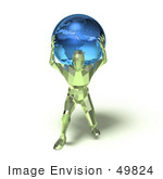 #49824 Royalty-Free (Rf) Illustration Of A 3d Green Crystal Man Carrying A Globe - Version 1
