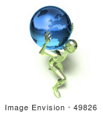 #49826 Royalty-Free (Rf) Illustration Of A 3d Green Crystal Man Carrying A Globe - Version 4