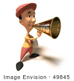 #49845 Royalty-Free (Rf) Illustration Of A 3d News Boy Announcing News Through A Megaphone - Version 5