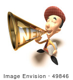 #49846 Royalty-Free (Rf) Illustration Of A 3d News Boy Announcing News Through A Megaphone - Version 8