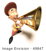 #49847 Royalty-Free (Rf) Illustration Of A 3d News Boy Announcing News Through A Megaphone - Version 7