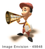 #49848 Royalty-Free (Rf) Illustration Of A 3d News Boy Announcing News Through A Megaphone - Version 6