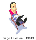 #49849 Royalty-Free (Rf) Illustration Of A 3d Man Sunbathing And Using A Laptop - Version 3
