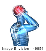 #49854 Royalty-Free (Rf) Illustration Of A 3d Transparent Blue Human Body With A Migraine - Version 6
