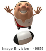 #49859 Royalty-Free (Rf) Illustration Of A 3d Chubby Rugby Mascot Flying Towards A Ball - Version 1