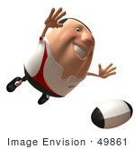 #49861 Royalty-Free (Rf) Illustration Of A 3d Chubby Rugby Mascot Flying Towards A Ball - Version 2