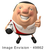 #49862 Royalty-Free (Rf) Illustration Of A 3d Chubby Rugby Mascot Giving The Thumbs Up - Version 1