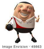 #49863 Royalty-Free (Rf) Illustration Of A 3d Chubby Rugby Mascot Pointing His Fingers Like A Gun