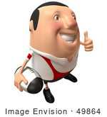#49864 Royalty-Free (Rf) Illustration Of A 3d Chubby Rugby Mascot Giving The Thumbs Up - Version 2