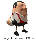 #49865 Royalty-Free (Rf) Illustration Of A 3d Chubby Rugby Mascot Facing Right And Holding A Ball