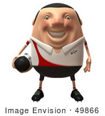 #49866 Royalty-Free (Rf) Illustration Of A 3d Chubby Rugby Mascot Facing Front And Holding A Ball