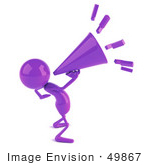 #49867 Royalty-Free (Rf) Illustration Of A 3d Purple Man Mascot Yelling Through A Megaphone