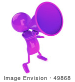 #49868 Royalty-Free (Rf) Illustration Of A 3d Purple Man Mascot Using A Megaphone