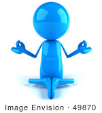 #49870 Royalty-Free (Rf) Illustration Of A 3d Blue Guy Mascot Meditating - Pose 1