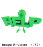 #49874 Royalty-Free (Rf) Illustration Of A 3d Green Man Mascot Holding Help