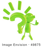 #49875 Royalty-Free (Rf) Illustration Of A 3d Green Man Mascot Holding A Question Mark