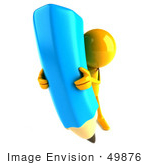 #49876 Royalty-Free (Rf) Illustration Of A 3d Orange Man Mascot With A Giant Blue Pencil - Version 4