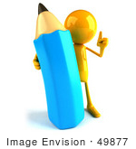 #49877 Royalty-Free (Rf) Illustration Of A 3d Orange Man Mascot With A Giant Blue Pencil - Version 1