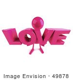 #49878 Royalty-Free (Rf) Illustration Of A 3d Pink Man Mascot Holding Love