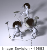 #49883 Royalty-Free (Rf) Illustration Of 3d Human Like People Mascots Playing In A Rock Band - Version 4