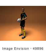 #49896 Royalty-Free (Rf) Illustration Of A 3d Male Athlete Holding A Soccer Ball - Version 2