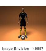 #49897 Royalty-Free (Rf) Illustration Of A 3d Male Athlete Standing With A Soccer Ball At His Feet- Version 2
