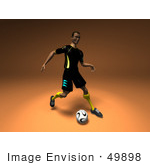 #49898 Royalty-Free (Rf) Illustration Of A 3d Male Athlete Kicking A Soccer Ball - Version 1