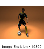 #49899 Royalty-Free (Rf) Illustration Of A 3d Male Athlete Kicking A Soccer Ball - Version 2