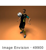 #49900 Royalty-Free (Rf) Illustration Of A 3d Male Athlete Bouncing A Soccer Ball Off Of His Chest- Version 2