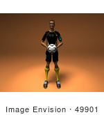 #49901 Royalty-Free (Rf) Illustration Of A 3d Male Athlete Holding A Soccer Ball - Version 1