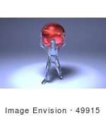 #49915 Royalty-Free (Rf) Illustration Of A 3d Crystal Man Character Carrying A Globe - Version 1
