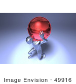 #49916 Royalty-Free (Rf) Illustration Of A 3d Crystal Man Character Carrying A Globe - Version 3