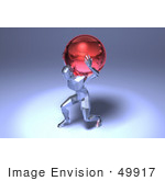 #49917 Royalty-Free (Rf) Illustration Of A 3d Crystal Man Character Carrying A Globe - Version 2