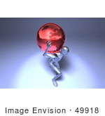 #49918 Royalty-Free (Rf) Illustration Of A 3d Crystal Man Character Carrying A Globe - Version 4