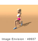 #49937 Royalty-Free (Rf) Illustration Of A 3d Blond Fitness Woman Doing Walking Lunges With Weights - Version 3