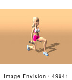 #49941 Royalty-Free (Rf) Illustration Of A 3d Blond Fitness Woman Doing Walking Lunges With Weights - Version 2