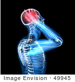 #49945 Royalty-Free (Rf) Illustration Of A 3d Clear Human Being Character With A Migraine - Version 2