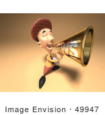 #49947 Royalty-Free (Rf) Illustration Of A 3d News Boy Announcing News Through A Megaphone - Version 3