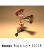 #49948 Royalty-Free (Rf) Illustration Of A 3d News Boy Announcing News Through A Megaphone - Version 1