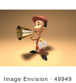 #49949 Royalty-Free (Rf) Illustration Of A 3d News Boy Announcing News Through A Megaphone - Version 2