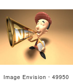 #49950 Royalty-Free (Rf) Illustration Of A 3d News Boy Announcing News Through A Megaphone - Version 4
