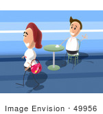 #49956 Royalty-Free (Rf) Illustration Of A Man In A Cafe Waving At A Smiling Woman Walking By