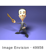 #49958 Royalty-Free (Rf) Illustration Of A 3d Short Businessman Holding A Key
