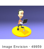 #49959 Royalty-Free (Rf) Illustration Of A 3d Man Standing And Using A Laptop - Version 2