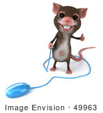 #49963 Royalty-Free (Rf) Illustration Of A 3d Mouse Mascot Holding The Cable To A Blue Computer Mouse