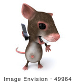 #49964 Royalty-Free (Rf) Illustration Of A 3d Mouse Mascot Using A Modern Cell Phone - Version 2