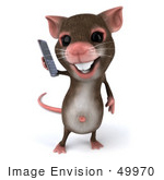#49970 Royalty-Free (Rf) Illustration Of A 3d Mouse Mascot Using A Modern Cell Phone - Version 1