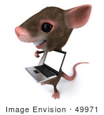 #49971 Royalty-Free (Rf) Illustration Of A 3d Mouse Mascot Presenting A Laptop With A Blank Screen